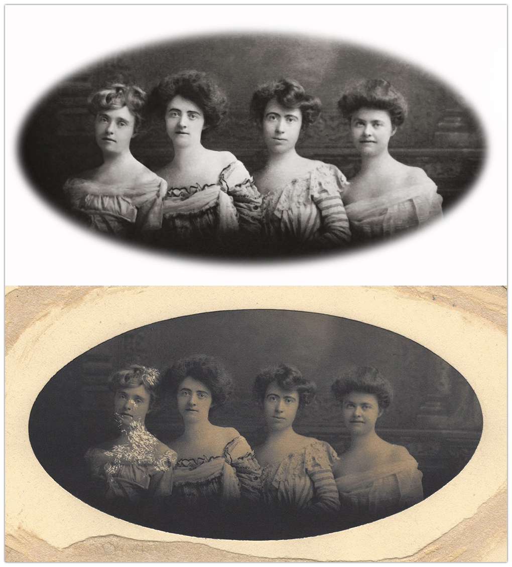 Photo Restoration of Young Ladies From the Early 1900's